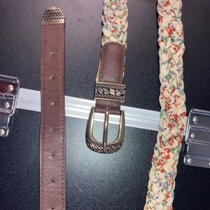 *NWOT* Flowery Fabric and Gold Chain Braided Belt